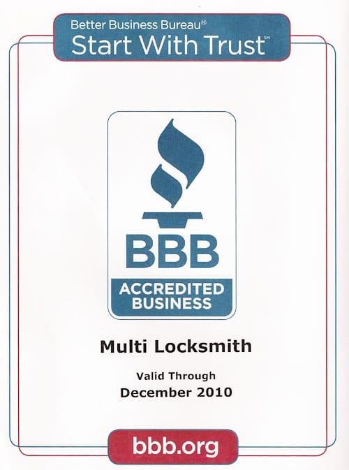 24 Hr locksmith BBB Membership