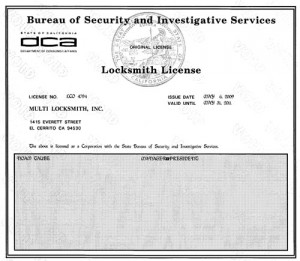24 Hr locksmith  License