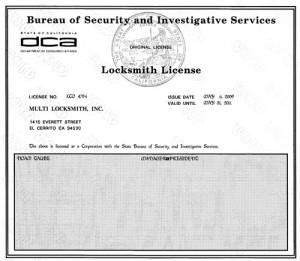 24 Hr locksmith  License