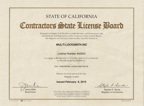 24 Hr locksmith Contractor's License